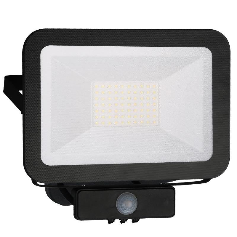 LED HQ reflektor PIR 50W/4000K čierny (LF2024S)