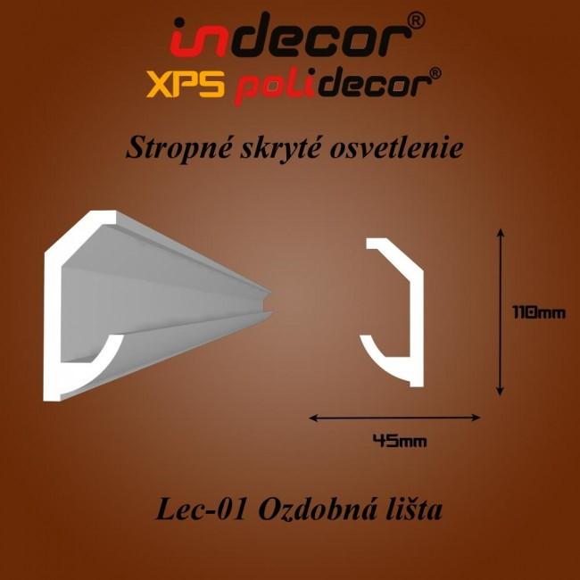 Lec-01 Stropné skryté osvetlenie ozdobné lišty - 2m (Lec-01)