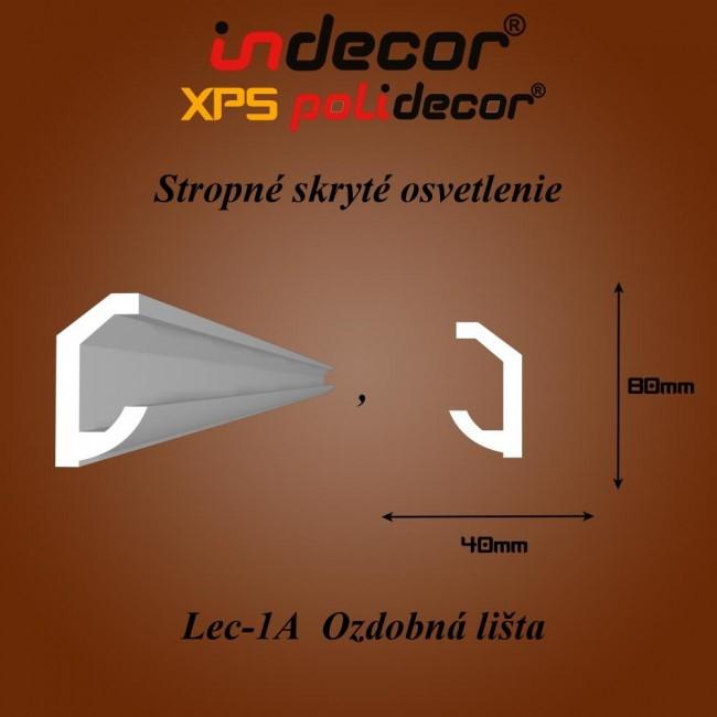 Lec-01A Stropné skryté osvetlenie ozdobné lišty - 2m (Lec-01A)