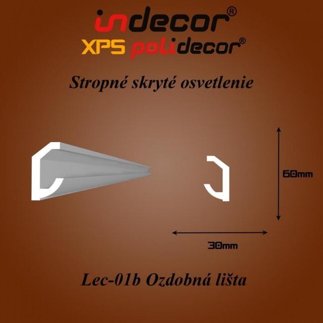 Lec-01B Stropné skryté osvetlenie ozdobné lišty - 2m (Lec-01B)