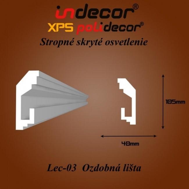 Lec-03 Stropné skryté osvetlenie ozdobné lišty - 2m (Lec-03)