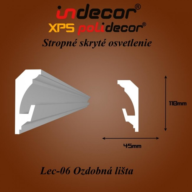 Lec-06 Stropné skryté osvetlenie ozdobné lišty - 2m (Lec-06)